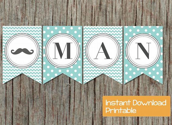 image relating to Printable Baby Shower Banners referred to as Printable Kid Shower Banner Mustache Blue Chevron Polkadot Small Gentleman Boy Boy or girl Shower Social gathering Components Decorations Banner 20