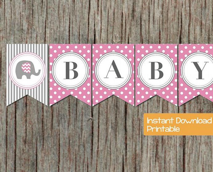 Baby Shower Banner Pink Grey Elephant By