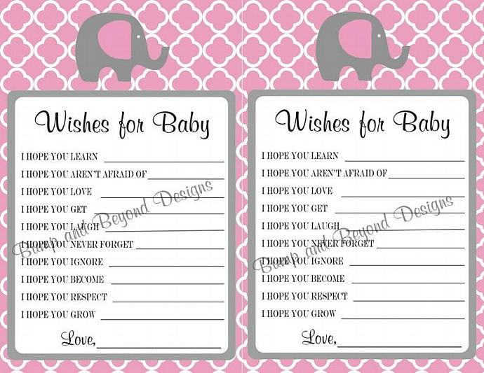 Wishes for Baby Pink Quatrefoil Baby Shower Game   Advice Printable Party Dear