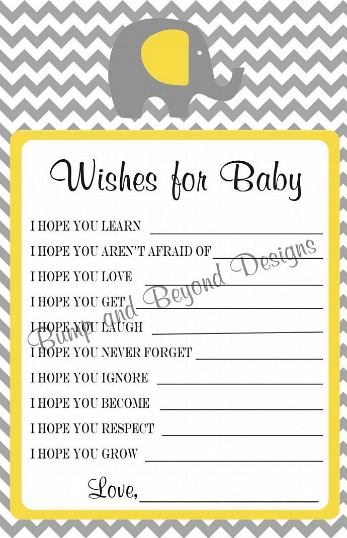 Baby Shower Game Wishes for Baby Shower Advice Printable   Wishes for Baby
