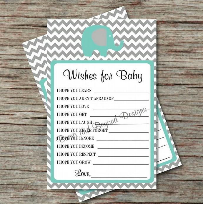 Baby Shower Game Wishes for Baby Shower Advice Printable PDF Wishes for Baby