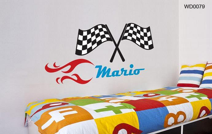 Custom  Racing Flags Name Wall Decal.