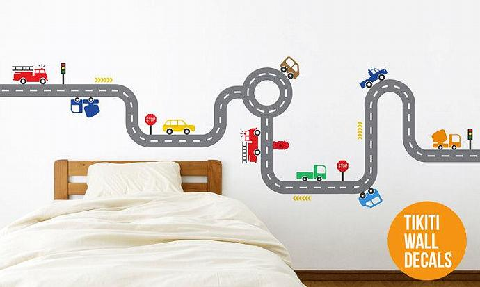 Fire Trucks Car Track Wall Decal for your Baby Boy's Room