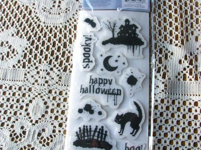"""Cloud 9 Designs- 4 x 8 """"Halloween"""" Stamp Set-Brand New- Only 1.99 to Ship"""