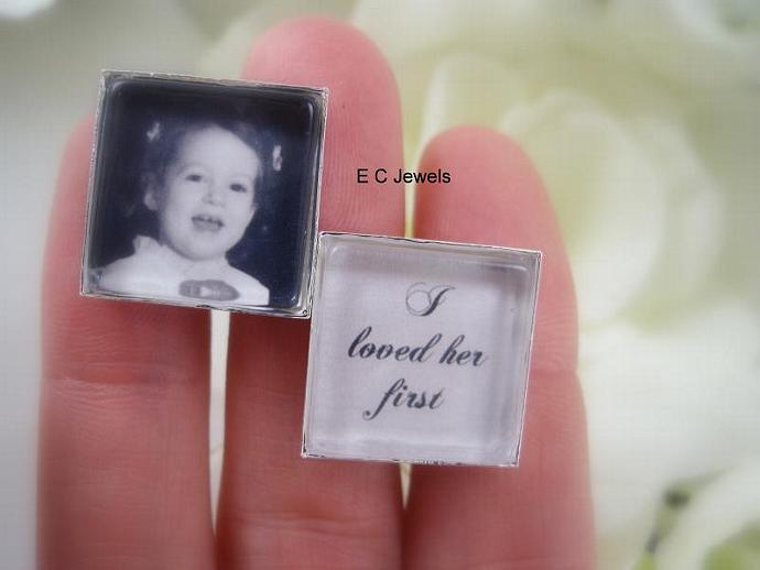 I loved her first, Custom Photo - Cufflinks
