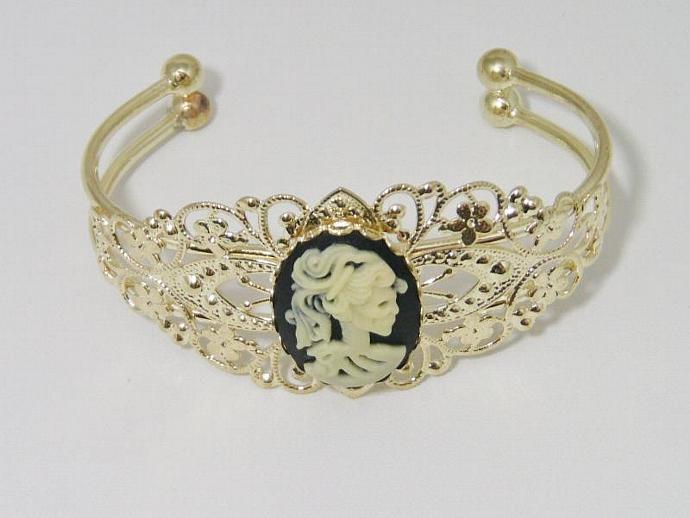Day of the Dead Gothic Lolita Cameo Goldtone Cuff Bracelet