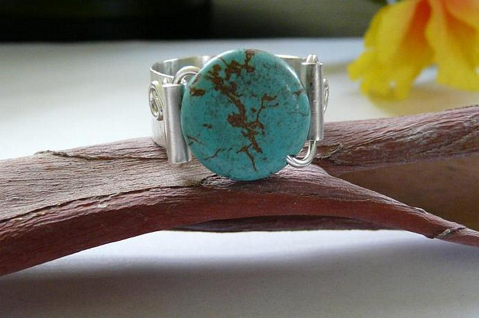 Sterling Silver Wide Band Handmade Rustic Ring With Blue Lace Agate