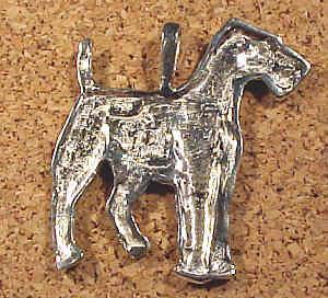 Large Airedale pendant, sterling silver