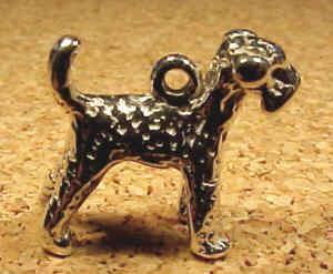 Airedale charm, 3D sterling silver