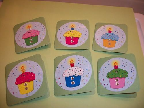 Green Birthday Cupcake Mini Note Cards / 6ct
