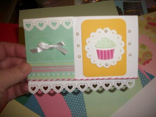Cupcake Happy Birthday Card with heart cut out border