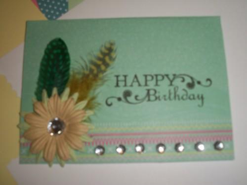 Happy Birthday Feathers and rhinestone card