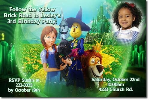 Wizard of Oz Birthday Invitations DOWNLOAD JPG NOW