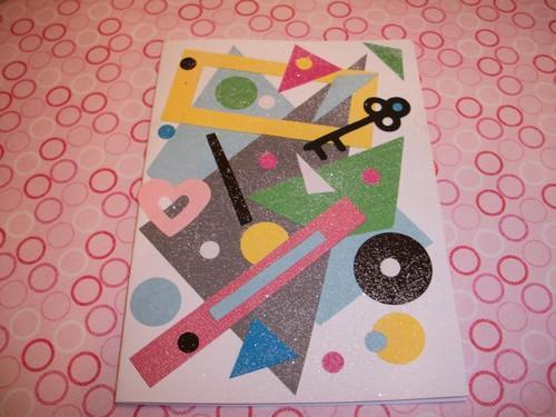 OOAK Multi colored Paper layered greeting / note card