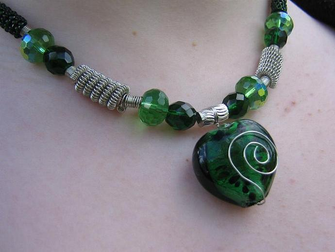 Silver and green 3pc set OOAK necklace earrings