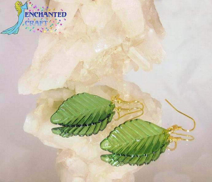 Luscious Emerald Leaf Earrings- goldtone fishhook