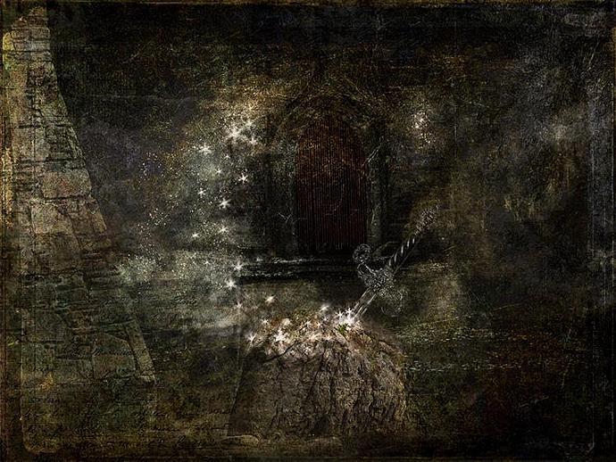 Excalibur- mixed media,photography,collage,fantasy