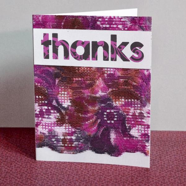 Purple Lace Handmade Thank You Card