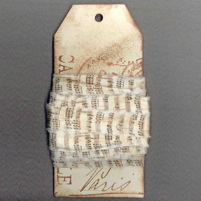 8 yards vintage music ribbon handmade trim gift wrap Paris tag craft supplies