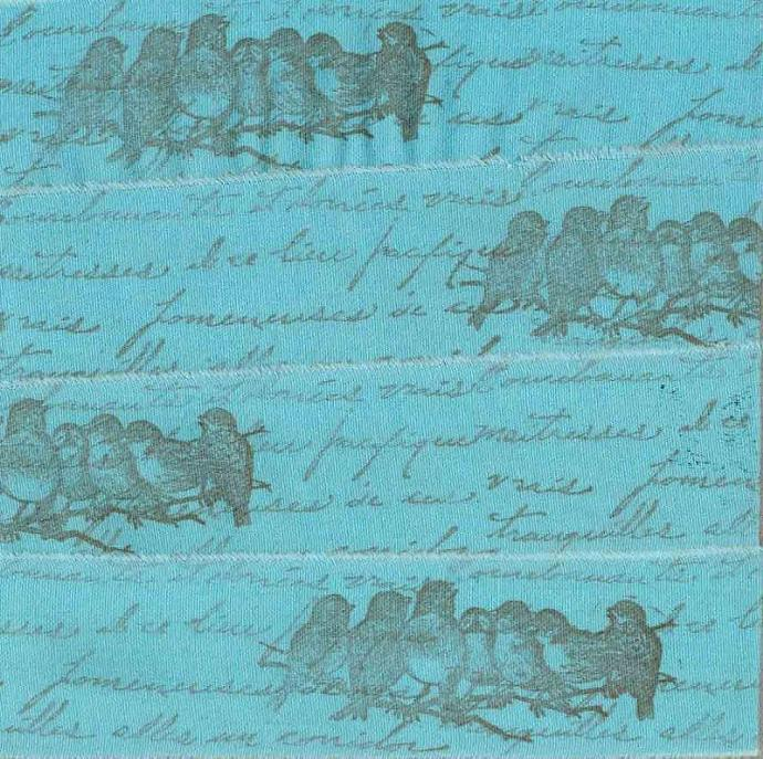 handmade trim stamped ribbon turquoise song birds vintage french inspired Paris