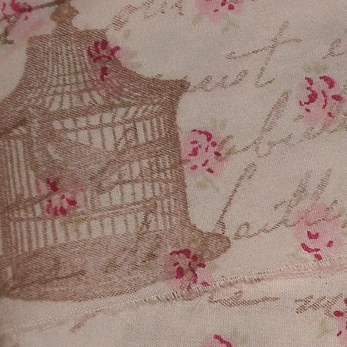Vintage bird cage rubber stamped with french script on pretty fabric with tiny