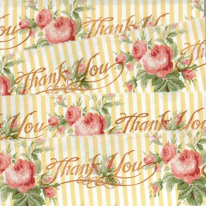 ribbon handmade THANK YOU yellow pink roses hand stamped trim Muslin c759
