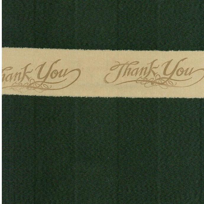 hand stamped thank you muslin ribbon old world script  (item 64