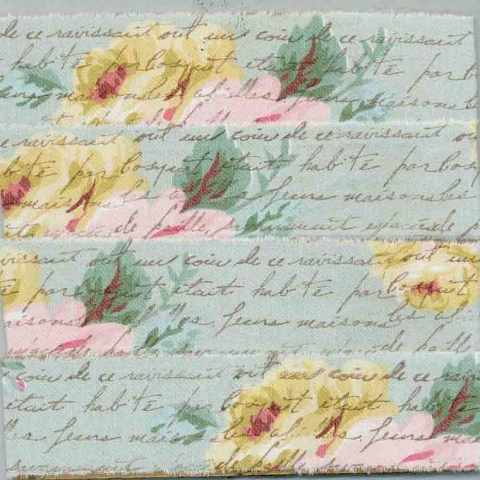Floral Cottage Ribbon - Yellow & Pink Roses on Blue Muslin Fabric Hand Stamped