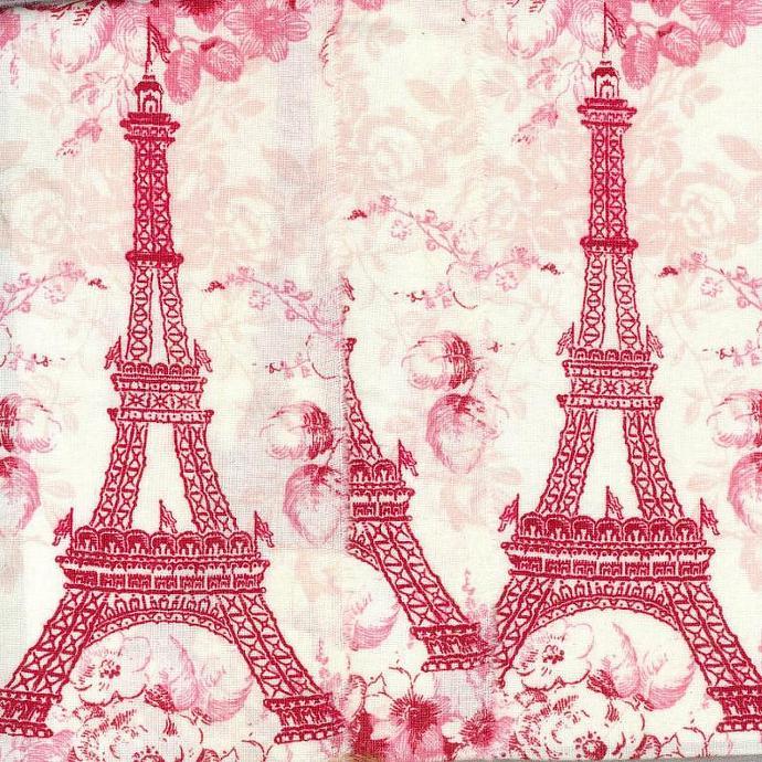 valentine red  Eiffel tower Paris France  hand torn ribbon 3.5 wide c751