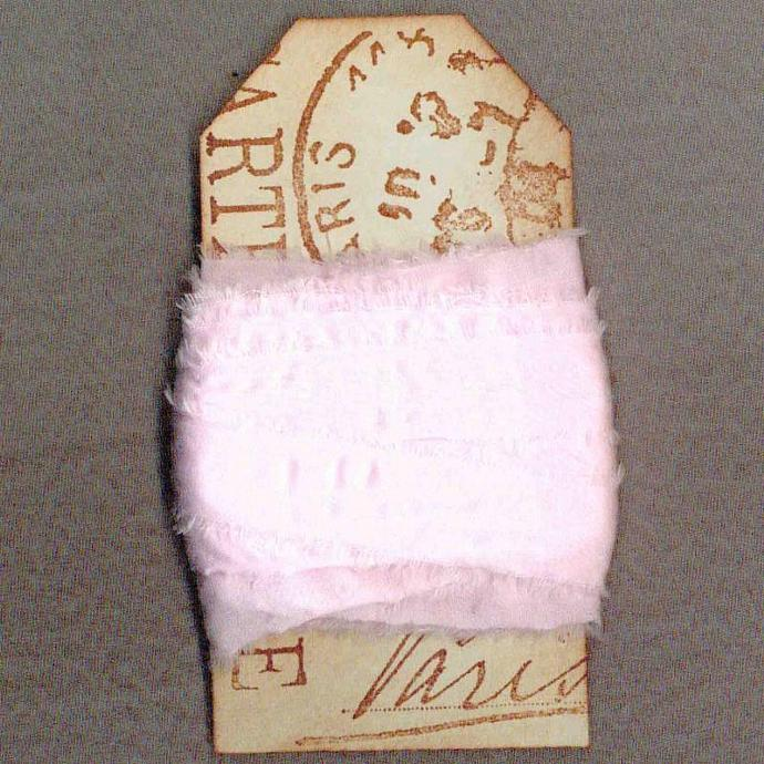 8 yards pale pink muslin hand dyed cottage chic trim doll paris gift tag 3/4