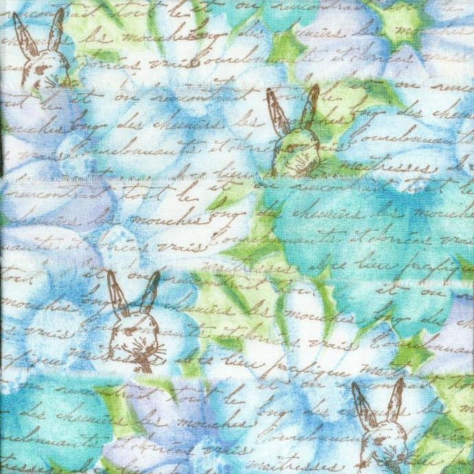 easter rabbit turquoise blue gift wrap shabby french chic trim vintage stamped