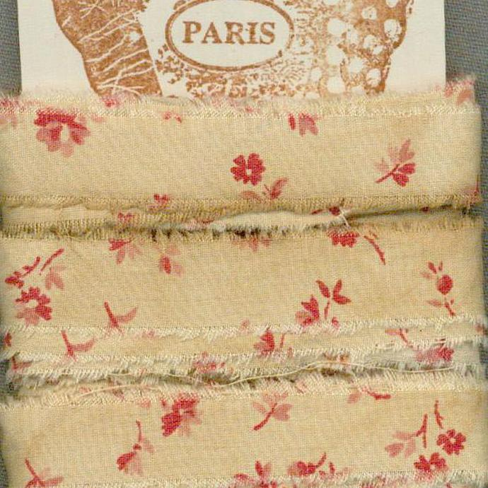 8.5 yards vintage tea dyed cotton red seam binding shabby trim chic Muslin c782