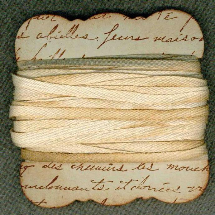 10 yards Simple flat woven 3/8 cotton french chic cottage tea dyed ribbon c832