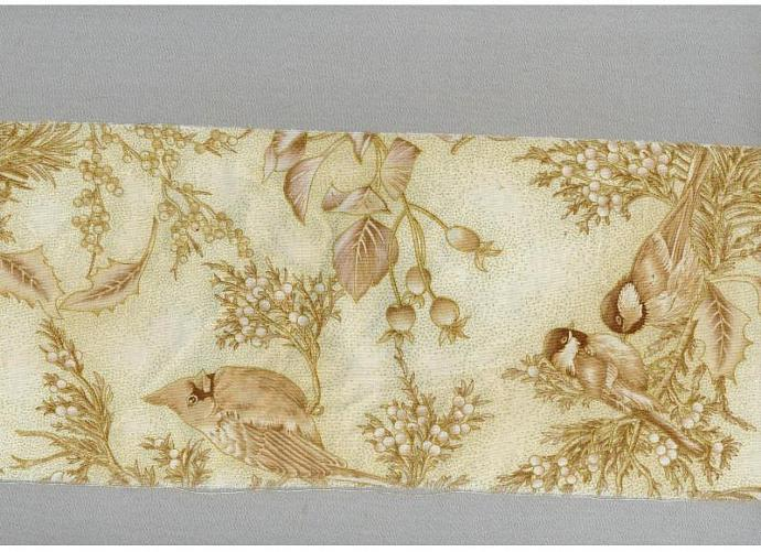 Christmas ribbon SONG BIRDS  tea gold Muslin  handmade gift wrap 5.5 wide  c747