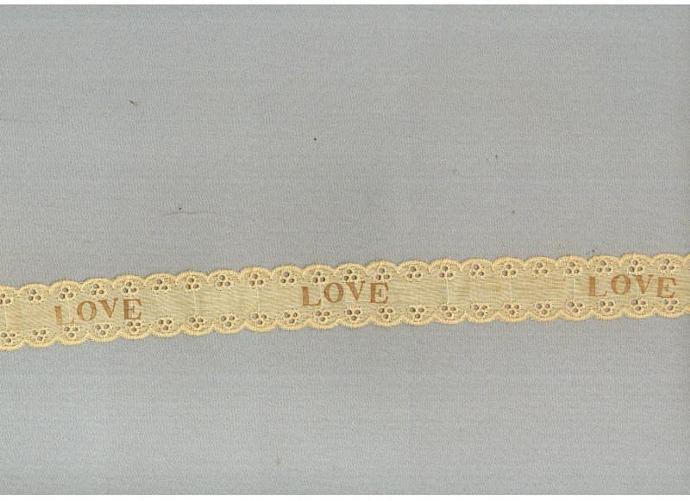 LOVE eyelet doll ribbon vintage paris tag tea dyed hand stamped craft  r770