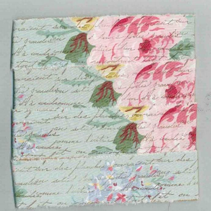 4.5 yards pink  roses  ,muslin  hand made, handmade floral rubber stamped french