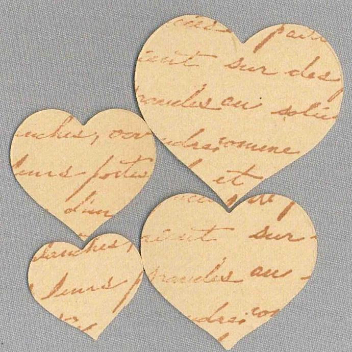 Handmade French script stamped heart stickers envelope seals vintage paper L808