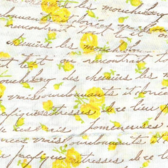 "FRENCH SCRIPT soft  muslin rubber stamped yellow floral  ribbon, 2"" wide (item"