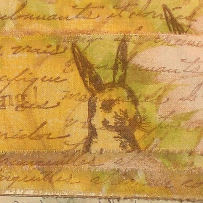 french script rabbit ribbon shabby rubber stamped muslin (item 52