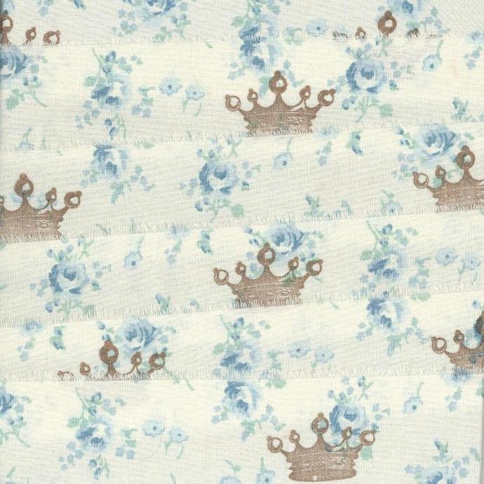 CROWN french blue floral fabric rubber stamped ribbon1.5 inches wide (item 72