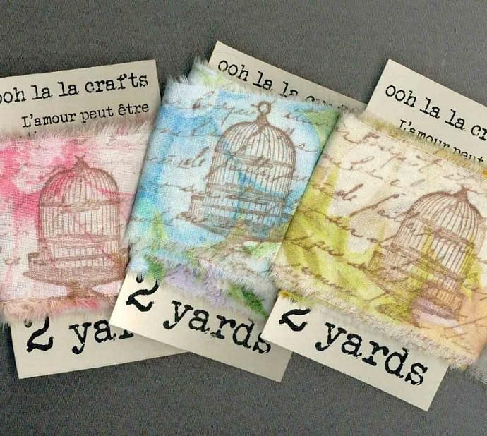 6 yards assorted vintage French script with birdcages and birds rubber stamped