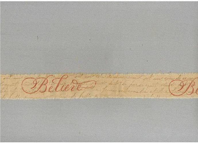 Christmas Believe french script ribbon handmade tea dyed Muslin stamped   c732