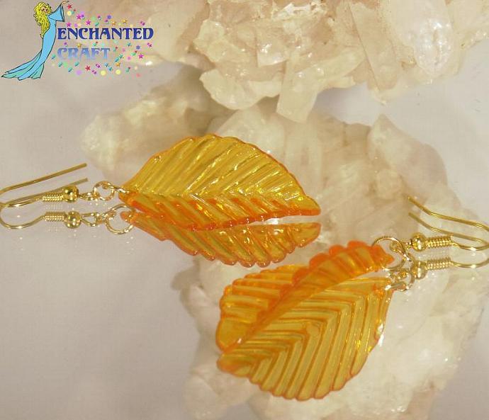 Golden Leaf Earrings- goldtone fishhook