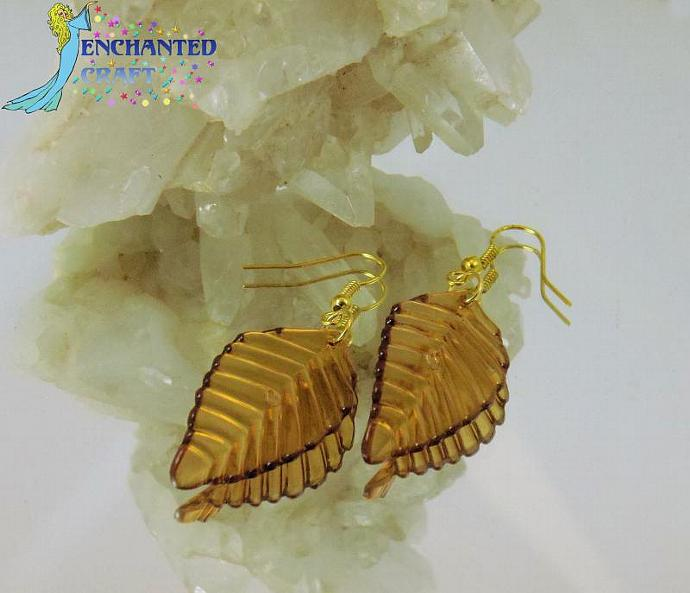Golden brown Leaf Earrings- goldtone fishhook