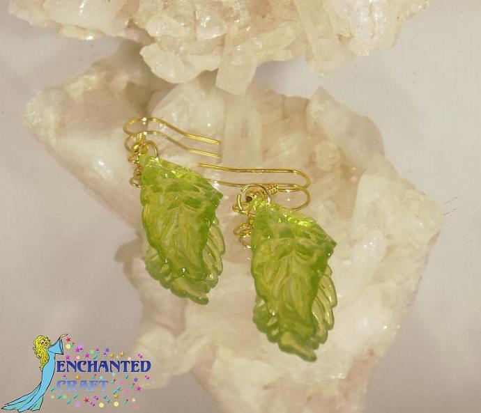 cheerful light green Leaf Earrings- goldtone fishhook