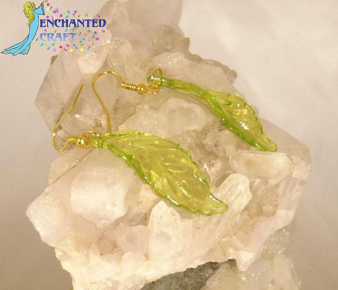 cheerful light green Leaf Earrings- goldtone fishhook