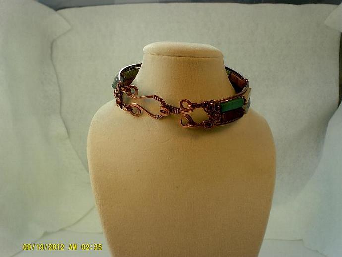 Antique Copper and Gemstone Bangle-Item #0168