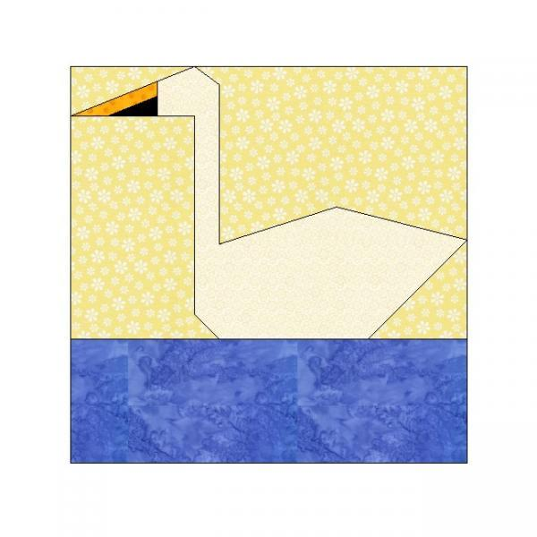 ALL STITCHES - SWAN PAPER PIECING QUILT BLOCK PATTERN .PDF -124A