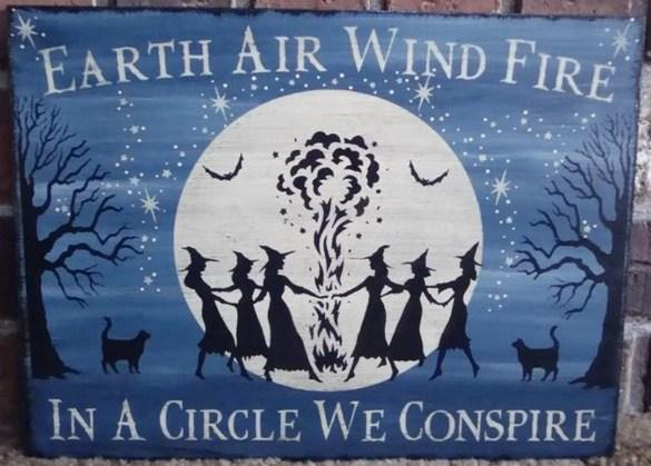 Primitive Witch Signs witchcraft Earth air wind water fire halloween decorations