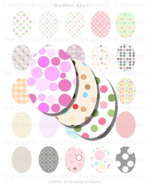 30x40mm oval polka dots - Digital collage sheet - pdf jpg png - Download for